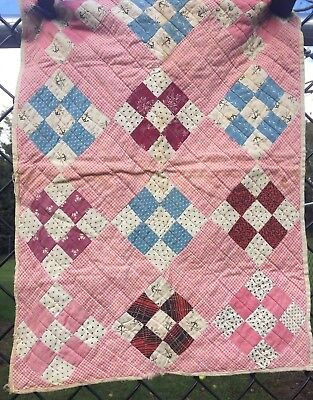 Antique Vintage Late 1800s Early 1900s Doll Baby Quilt