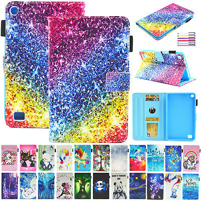 """For Amazon Kindle Fire 7"""" 2017 2015 Pattern Leather Case Wallet Flip Smart Cover"""