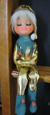 "12"" Vintage Elf on the Shelf; Metallic Gold and Green Felt; Painted Face; Japan"