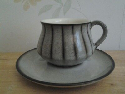 Vintage mid century Denby Bourne coffee cup and saucer grey brown stripe