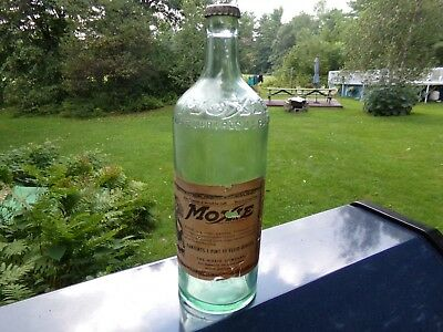 Vintage Moxie Soda Bottle 1 Pint 10 oz with Original Label Capped Boston Mass Ma