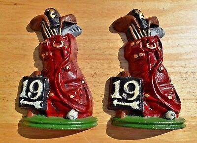 Pair of Vintage 19th Hole Red Golf Bag Heavy Cast Iron Metal Book Ends 7 1/4""