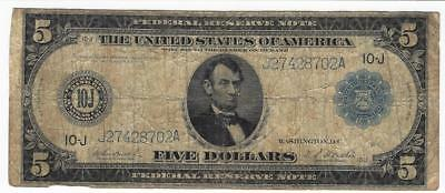 Series Of 1914 Five Dollar $5 Federal Reserve Note Lincoln Currency Kansas City