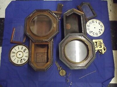 Lot of 2 Antique Japanese Wall Clocks (non-working, in pieces) #315 steampunk