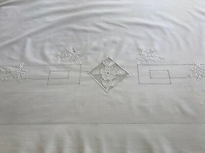 36x110 antique layover pillow sham hand worked NU laundered wh cotton percale