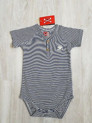 NO ADDED SUGAR Baby Boy SS VEST Body suit Babygrow Size 9 12 months NWT blue