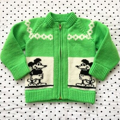 Vintage Mickey Mouse Disney Green Cardigan Zip Up Sweater Boys Girls Sz 2 3