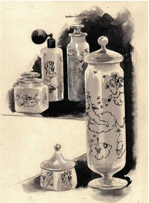 1955 original drawing for W&J Sloane ad by Max Walter with ad.