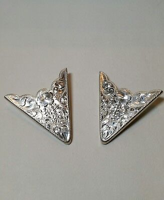 Sunset Trails Sterling Silver Engraved Collar Tips With Back Screw VTG Amazing