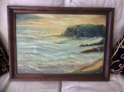 Original 1900s Signed Oil Painting on Board,Impressionist Crepuscular Seascape