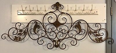 """French Vintage Inspired Wrought Iron Rustic Metal Wall Art Decor Plaque Wide 55"""""""