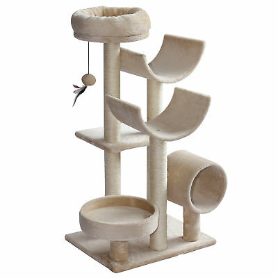 "41"" Multi-Level Large Cat Tree Scratching Post Play House Perch Tunnel w/ Ball"