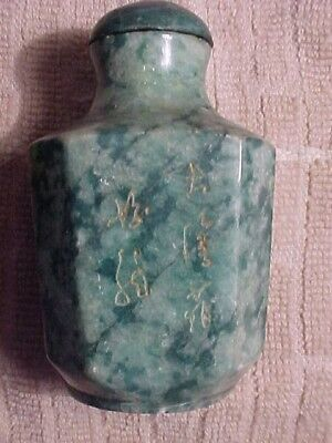 Old Chinese Jade??? Snuff Bottle-Signed ? 4  Times