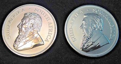 TWO 2017 South African Silver Krugerrands--50th Anniversary Privy