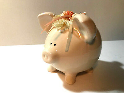 Vintage Ceramic Piggy Bank with Flowers On Her Head