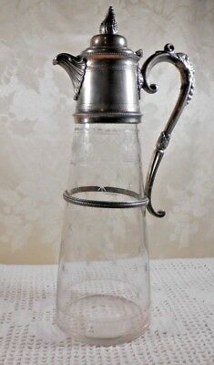 Antique Crystal and Pewter Claret Decanter Etched 1800's