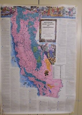 "Original Vintage 1954 46""x32"" Map/Poster Of Outdoor Play Places Of California"