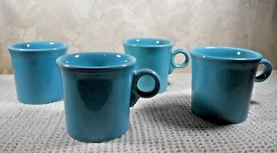 Vtg Fiesta Ware Turquoise Blue Mugs Set of Four (4) Excellent Condition!