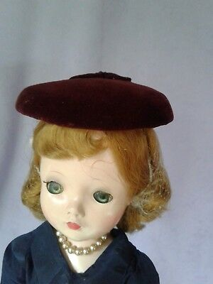 Vintage Burgundy Velvet for Cissy Doll Hat Madame Alexander