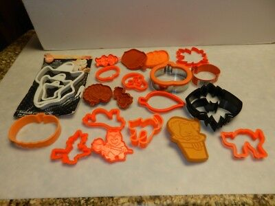 Lot of 22 Halloween Fall Cookie Cutters Metal Plastic