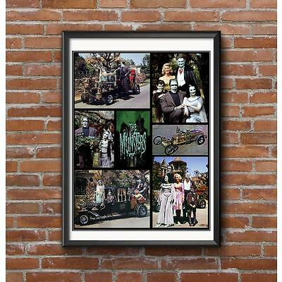 Munsters Collage Poster - Cast Members and Cars from the TV Show