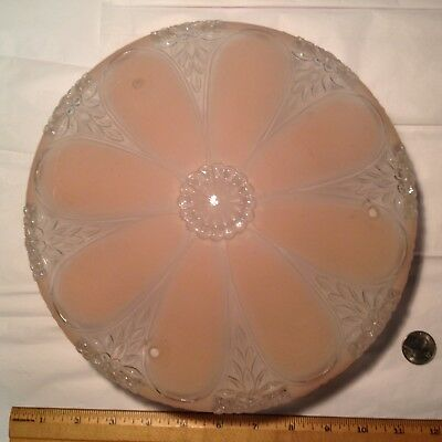"Vintage Glass Frosted Ceiling Light Fixture Cover Pink Flower, 10"", Very Unique"