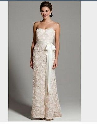 New Badgley Mischka Ivory Strapless Sweetheart Wedding Dress Never altered Sz.12
