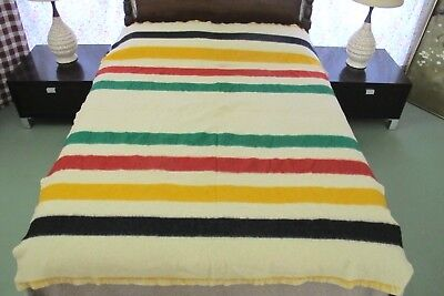 BEAUTIFUL COLORS: Emerald Green, Red, Gold, Black Vintage NO LABEL Wool Blanket