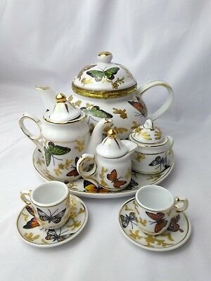 Butterfly Collection Formalities by Baum Brothers Miniature 11 Piece Tea Set