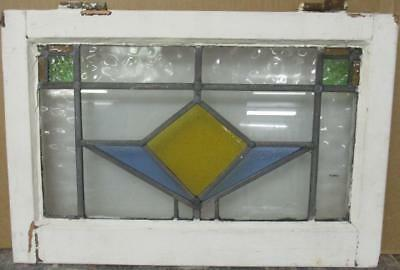 """MID SIZED OLD ENGLISH LEADED STAINED GLASS WINDOW Pretty Geometric 22.25"""" x 15"""""""