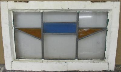 "MID SIZE OLD ENGLISH LEADED STAINED GLASS WINDOW Simple Geometric 23.25"" x 14.5"""