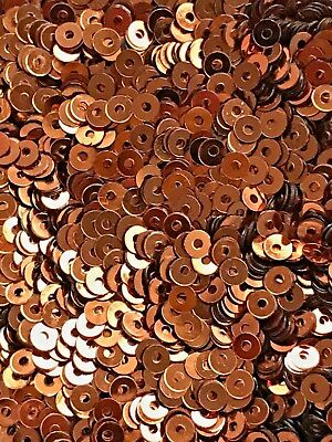 Sequins Tiny 3mm Topaz Brown Metallic Round Flat Choose Pack Size