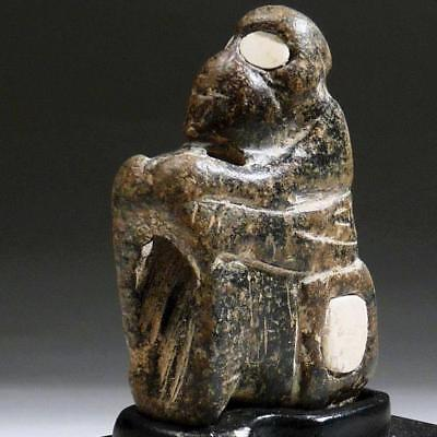 Rare BACTRIAN Stone MONKEY Figure with ALABASTER inlaid EYES Bronze Age