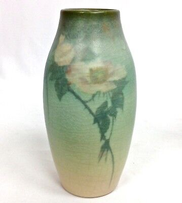 "ROOKWOOD 9"" PINK ROSE BLOSSOMS & LEAVES #939V MAT VELLUM VASE c1907 ED DIERS"