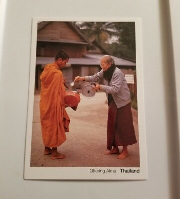 Modern View - Offering Alms - Early Morning, Woman & Novice - Thailand