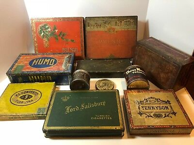 Lot of 11 pcs Vintage Antique Tobacco Tins Pall Mall, Humo, Old Briar, Humo LOOK