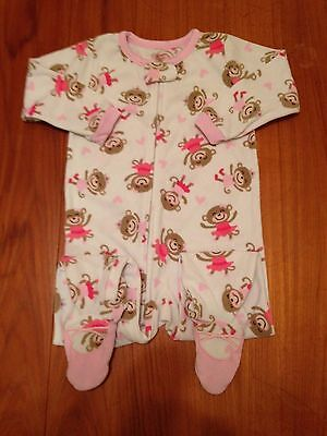 Carter's Super Comfy 2T White & Pink Monkey Ballerina Footed One Piece Pajamas