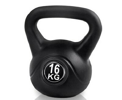 NEW 16kg Home Gym Workout Fitness Strength Training Exercise Kettlebell - Black