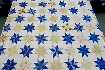 VERY DIRTY, NEEDS LAUNDERING: Vintage Cotton Hand Sewn LeMOYNE STAR Quilt; Queen