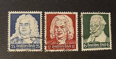 """GERMANIA, GERMANY1935 D. REICH """" Compositori"""" 3V.Cpl set USED"""