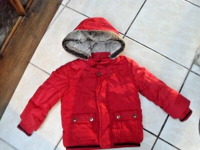 Age 18-24 Months Red Padded Coat With Faux Fur Trimmed Hood By M & Co Vgc