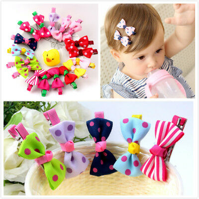 10pcs Ribbon Bow Hair Clip Barrette Hairpin Hair Accessories Kids Baby Girls New