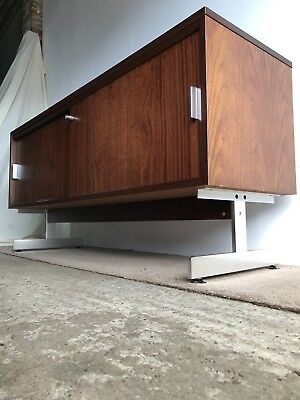 Small Rosewood & Chrome Sideboard Retro Vintage Mid Century 1970s
