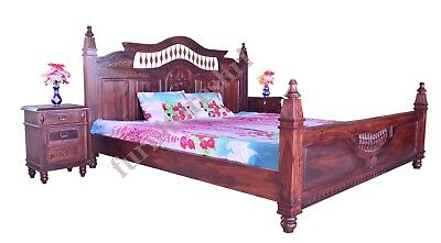 "Antique 5ft 10""Indian Handmade Wooden Carving King Size Four Poster Bed"