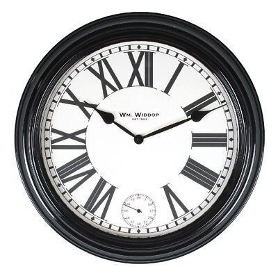 Large 50CM Black Deep Case Metal Wall Clock, Centre Seconds Hand By Wm.Widdop