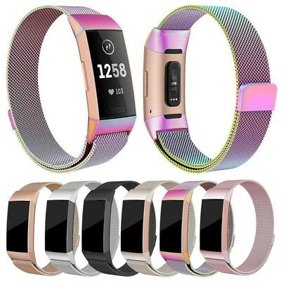 For Fitbit Charge 3 Wristband Metal Stainless Magnetic Band Strap