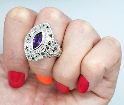 Amethyst & White Sapphire Ring, Size 9 1/4 US, Sterling Silver ♡