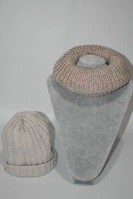 Set of Beige Hat and Cappuccino Scarf