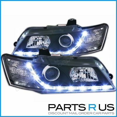 BLACK Headlights Holden VY Commodore Calais LED DRL 02-04 HSV Clubsport