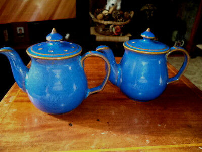 Fabulous Teapots Salt & Pepper In Imperial Blue By Denby- Limited Edition- Rare